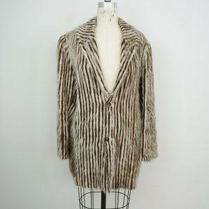 Vintage 60s Striped Fuzzy Mohair Blazer Oversized